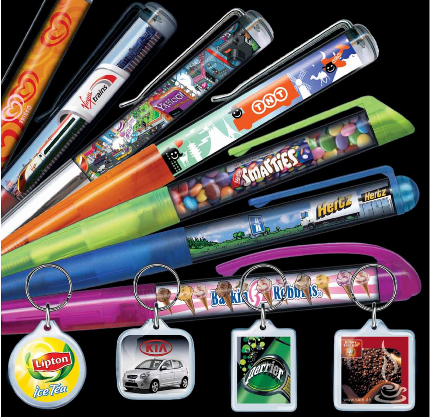 Custom Floating View Pens and Acrylic Key Rings